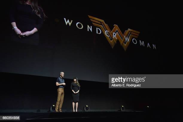 """Actor Chris Pine and director Patty Jenkins onstage at CinemaCon 2017 Warner Bros Pictures Invites You to """"The Big Picture"""" an Exclusive Presentation..."""
