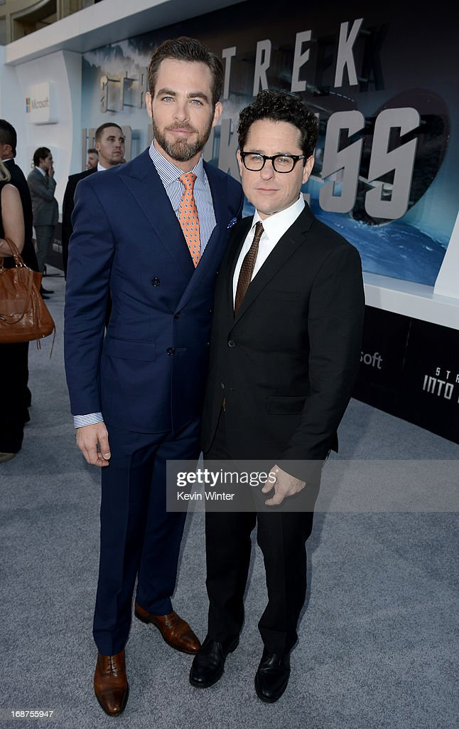 Actor <a gi-track='captionPersonalityLinkClicked' href=/galleries/search?phrase=Chris+Pine&family=editorial&specificpeople=641995 ng-click='$event.stopPropagation()'>Chris Pine</a> (L) and Director/Producer J.J. Abrams arrive at the Premiere of Paramount Pictures' 'Star Trek Into Darkness' at Dolby Theatre on May 14, 2013 in Hollywood, California.