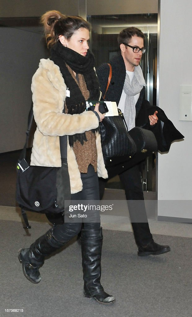 Actor Chris Pine and model Dominique Piek arrive at Narita International Airport on December 3, 2012 in Narita, Japan.