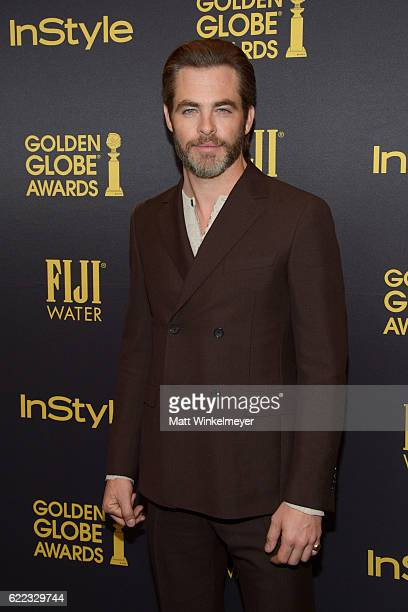 Actor Chris Pine arrives at the Hollywood Foreign Press Association and InStyle celebrate the 2017 Golden Globe Award Season at Catch LA on November...