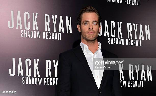 Actor Chris Pine arrives at the premiere of Paramount Pictures' 'Jack Ryan Shadow Recruit' at TCL Chinese Theatre on January 15 2014 in Hollywood...