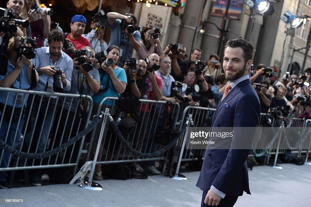 Actor <a gi-track='captionPersonalityLinkClicked' href=/galleries/search?phrase=Chris+Pine&family=editorial&specificpeople=641995 ng-click='$event.stopPropagation()'>Chris Pine</a> arrives at the Premiere of Paramount Pictures' 'Star Trek Into Darkness' at Dolby Theatre on May 14, 2013 in Hollywood, California.