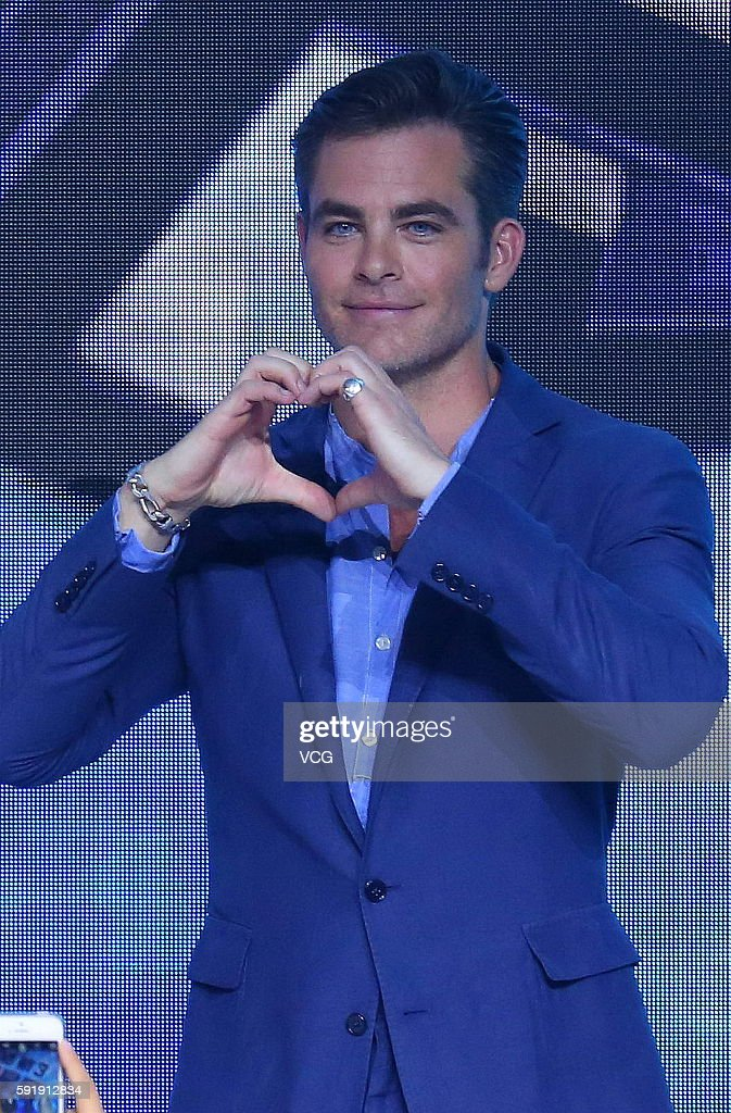 Actor Chris Pine attends 'Star Trek Beyond' press conference at Indigo Mall on August 18 2016 in Beijing China