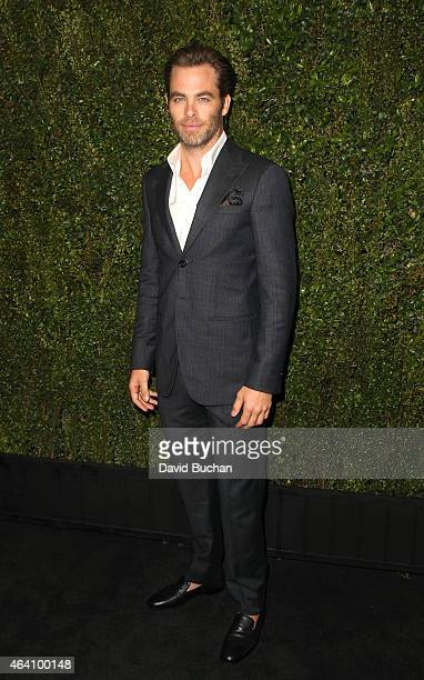 Actor Chris Pine attends the Chanel and Charles Finch PreOscar Dinner at Madeo Restaurant on February 21 2015 in Los Angeles California