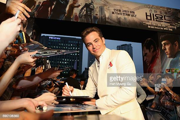 Actor Chris Pine attends the Fan Screening of the Paramount Pictures title 'Star Trek Beyond' on August 16 2016 at Lotte World Tower Mall in Seoul...