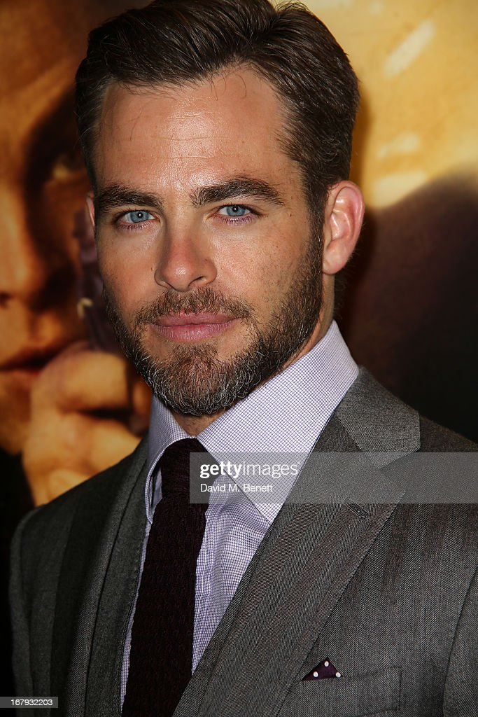 Actor <a gi-track='captionPersonalityLinkClicked' href=/galleries/search?phrase=Chris+Pine&family=editorial&specificpeople=641995 ng-click='$event.stopPropagation()'>Chris Pine</a> attends the UK Premiere of 'Star Trek Into Darkness' at The Empire Cinema on May 2, 2013 in London, England.