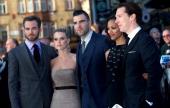 US actor Chris Pine English actress Alice Eve US actor Zachary Quinto US actress Zoe Saldana and British actor Benedict Cumberbatch pose for pictures...