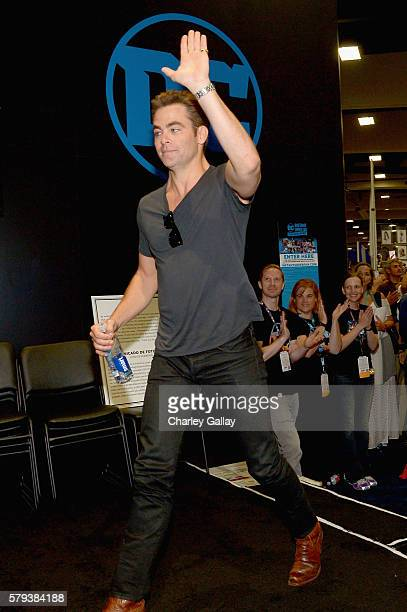 Actor Chris Pine from the 2017 feature film Wonder Woman attend an autograph signing session for fans in DC's 2016 San Diego ComicCon booth at San...