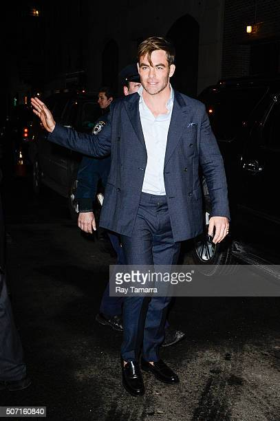 Actor Chris Pine leaves 'The Late Show With Stephen Colbert' taping at the Ed Sullivan Theater on January 27 2016 in New York City