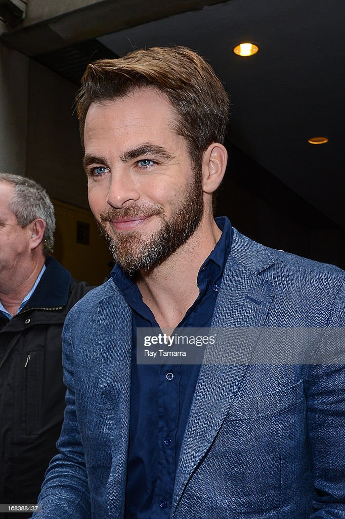 Actor <a gi-track='captionPersonalityLinkClicked' href=/galleries/search?phrase=Chris+Pine&family=editorial&specificpeople=641995 ng-click='$event.stopPropagation()'>Chris Pine</a> leaves the 'Today Show' taping at the NBC Rockefeller Center Studios on May 9, 2013 in New York City.