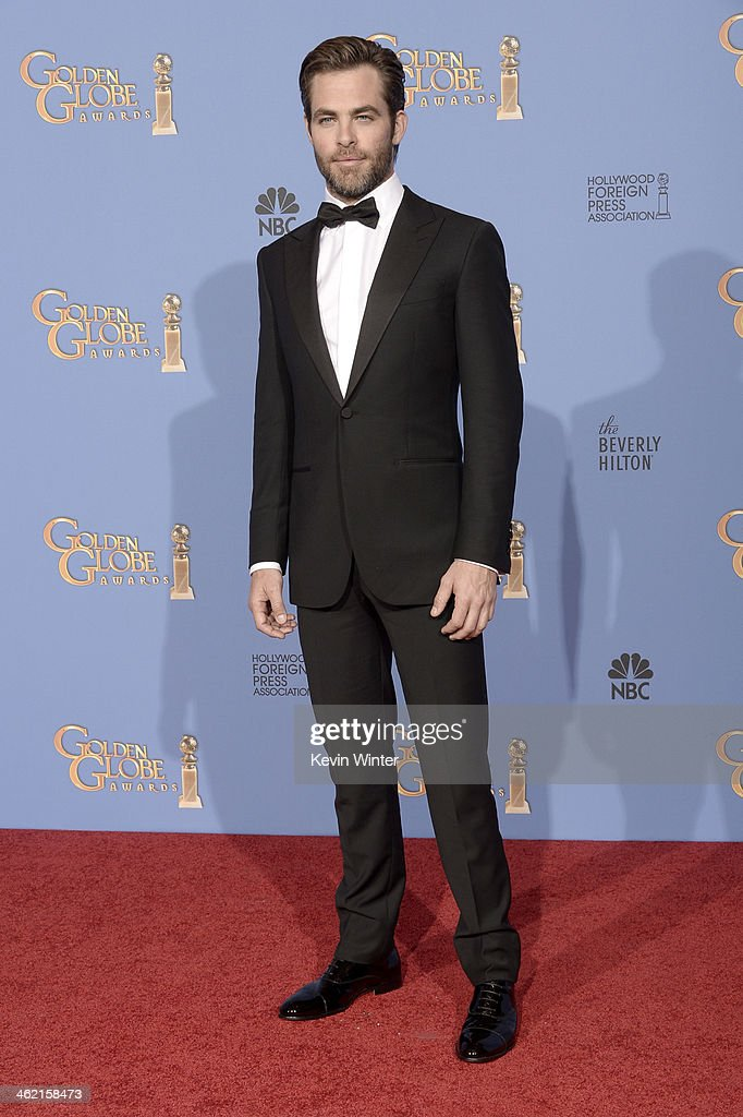 Actor Chris Pine poses in the press room during the 71st Annual Golden Globe Awards held at The Beverly Hilton Hotel on January 12 2014 in Beverly...