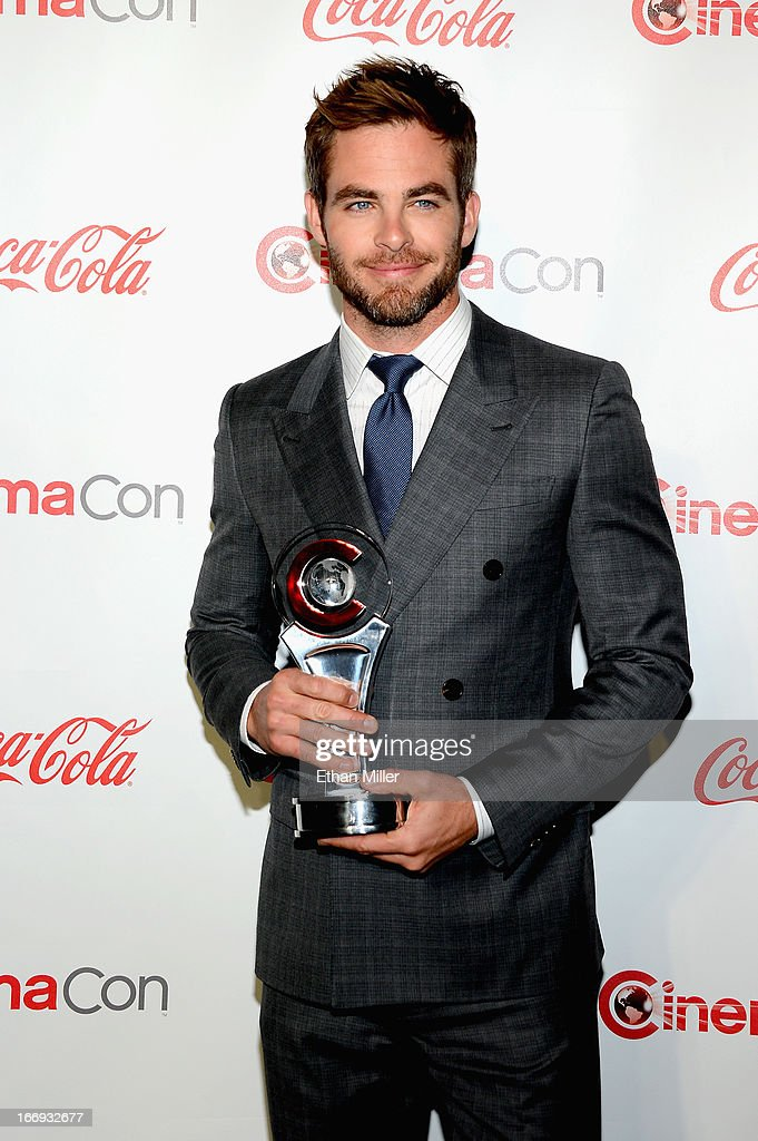 Actor <a gi-track='captionPersonalityLinkClicked' href=/galleries/search?phrase=Chris+Pine&family=editorial&specificpeople=641995 ng-click='$event.stopPropagation()'>Chris Pine</a>, recipient of the Male Star of the Year Award, arrives at the CinemaCon awards ceremony at the Pure Nightclub at Caesars Palace during CinemaCon, the official convention of the National Association of Theatre Owners, on April 18, 2013 in Las Vegas, Nevada.