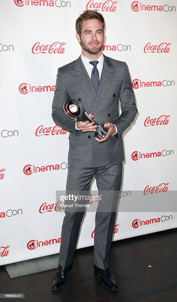 Actor <a gi-track='captionPersonalityLinkClicked' href=/galleries/search?phrase=Chris+Pine&family=editorial&specificpeople=641995 ng-click='$event.stopPropagation()'>Chris Pine</a>, recipient of the Male Star of the Year Award, arrives at the CinemaCon Big Screen Achievement Awards at the Pure Nightclub at Caesars Palace during CinemaCon 2013 on April 18, 2013 in Las Vegas, Nevada.