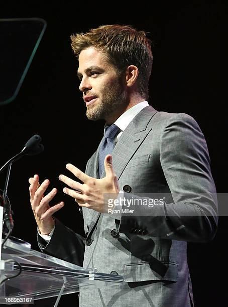 Actor Chris Pine recipient of the Male Star of the Year Award speaks onstage at the CinemaCon 2013 Final Night Awards at Caesars Palace during...