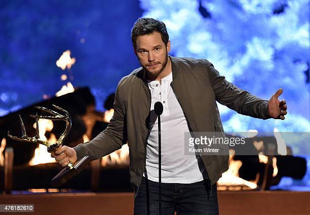 Actor Chris Pratt accepts the Guy of the Year award onstage during Spike TV's Guys Choice 2015 at Sony Pictures Studios on June 6 2015 in Culver City...