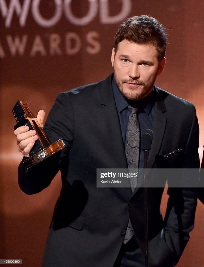 Actor Chris Pratt accepts the Hollywood Blockbuster Award for 'Guardians of the Galaxy' onstage during the 18th Annual Hollywood Film Awards at The...