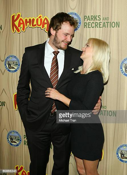 Actor Chris Pratt and Actress Anna Faris arrive to the Los Angeles premiere of NBC's new show 'Parks and Recreation' held at MyHouse on April 9 2009...