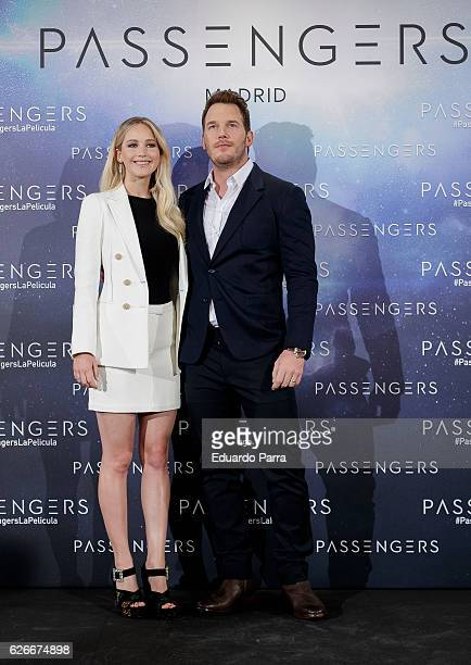 Actor Chris Pratt and actress Jennifer Lawrence attend the 'Passengers' photocall at Villamagna hotel on November 30 2016 in Madrid Spain