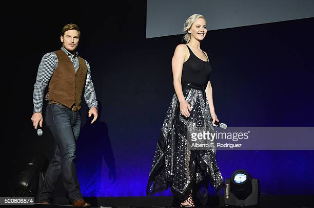 Actor Chris Pratt and actress Jennifer Lawrence speak onstage during CinemaCon 2016 An Evening with Sony Pictures Entertainment Celebrating the...