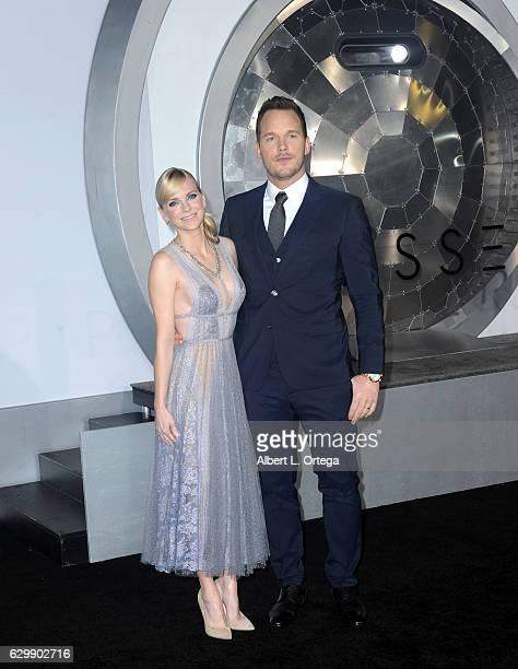 Actor Chris Pratt and actress/wife Anna Faris arrive for the Premiere Of Columbia Pictures' 'Passengers' held at Regency Village Theatre on December...