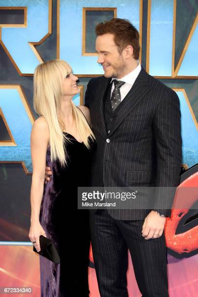 Actor Chris Pratt and his wife actress Anna Faris attend the UK screening of 'Guardians of the Galaxy Vol 2' at Eventim Apollo on April 24 2017 in...