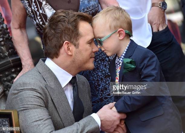 Actor Chris Pratt and son Jack Pratt attend the ceremony honoring Chris Pratt with a star on the Hollywood Walk of Fame on April 21 2017 in Hollywood...
