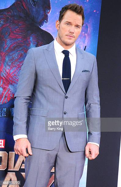 Actor Chris Pratt arrives at the Los Angeles Premiere 'Guardians Of The Galaxy' on July 21 2014 at the El Capitan Theatre in Hollywood California
