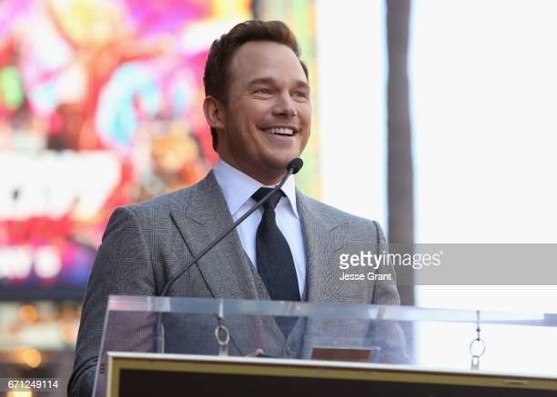 Actor Chris Pratt at the Chris Pratt Walk Of Fame Star Ceremony on April 21 2017 in Hollywood California