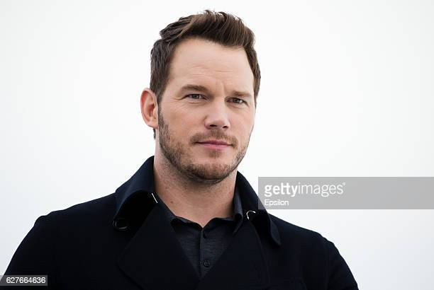 Actor Chris Pratt attends a photocall for their film 'Passengers' at the Monument to the Conquerors of Space on December 4 2016 in Moscow