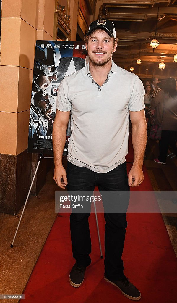 Actor Chris Pratt attends 'Captain America Civil War' Atlanta Cast filmmakers screening at The Fox Theatre on May 1 2016 in Atlanta Georgia