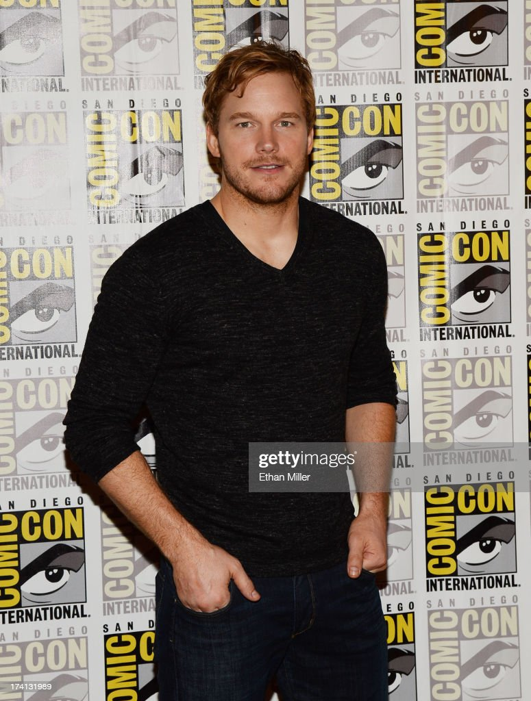 Actor <a gi-track='captionPersonalityLinkClicked' href=/galleries/search?phrase=Chris+Pratt+-+Actor&family=editorial&specificpeople=239084 ng-click='$event.stopPropagation()'>Chris Pratt</a> attends Marvel's 'Guardians of The Galaxy' press line during Comic-Con International 2013 at the Hilton San Diego Bayfront Hotel on July 20, 2013 in San Diego, California.