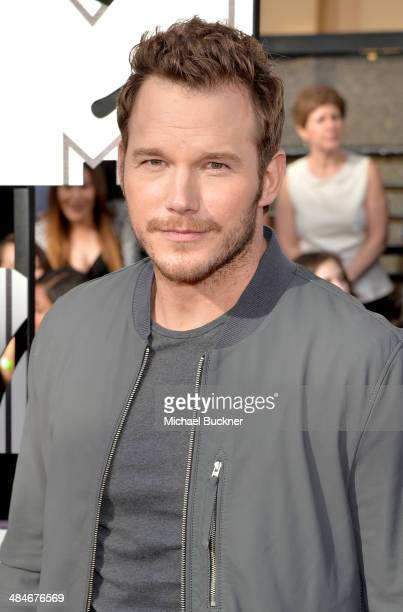 Actor Chris Pratt attends the 2014 MTV Movie Awards at Nokia Theatre LA Live on April 13 2014 in Los Angeles California