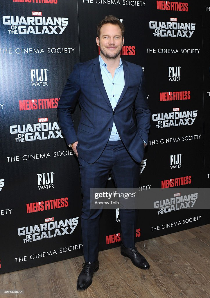 Actor <a gi-track='captionPersonalityLinkClicked' href=/galleries/search?phrase=Chris+Pratt+-+Actor&family=editorial&specificpeople=239084 ng-click='$event.stopPropagation()'>Chris Pratt</a> attends The Cinema Society with Men's Fitness & FIJI Water host a screening of 'Guardians of the Galaxy' on July 29, 2014 in New York City.