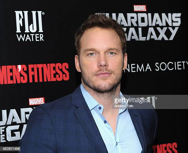 Actor Chris Pratt attends The Cinema Society with Men's Fitness FIJI Water host a screening of 'Guardians of the Galaxy' on July 29 2014 in New York...