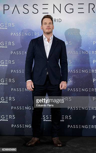 Actor Chris Pratt attends the 'Passengers' photocall at Villamagna hotel on November 30 2016 in Madrid Spain