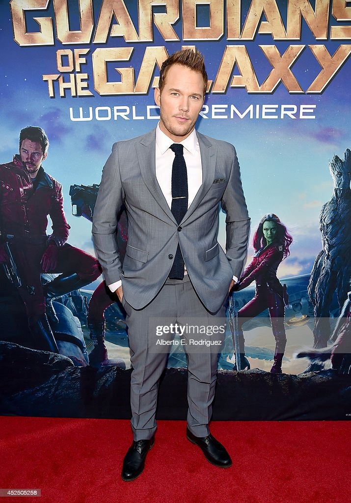 "Actor Chris Pratt attends The World Premiere of Marvel's epic space adventure ""Guardians of the Galaxy,"" directed by James Gunn and presented in Dolby 3D and Dolby Atmos at the Dolby Theatre. July 21, 2014 Hollywood, CA"