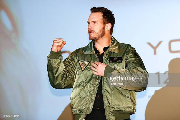 Actor Chris Pratt on stage at Marine Corps Air Station Miramar on December 12 2016 in San Diego California