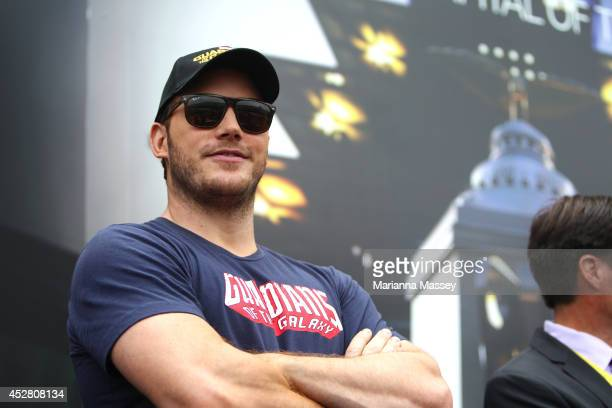 Actor Chris Pratt poses at Indianapolis Motor Speedway Walding received the naming rights to Sunday's NASCAR Sprint Cup Series race through Crown...