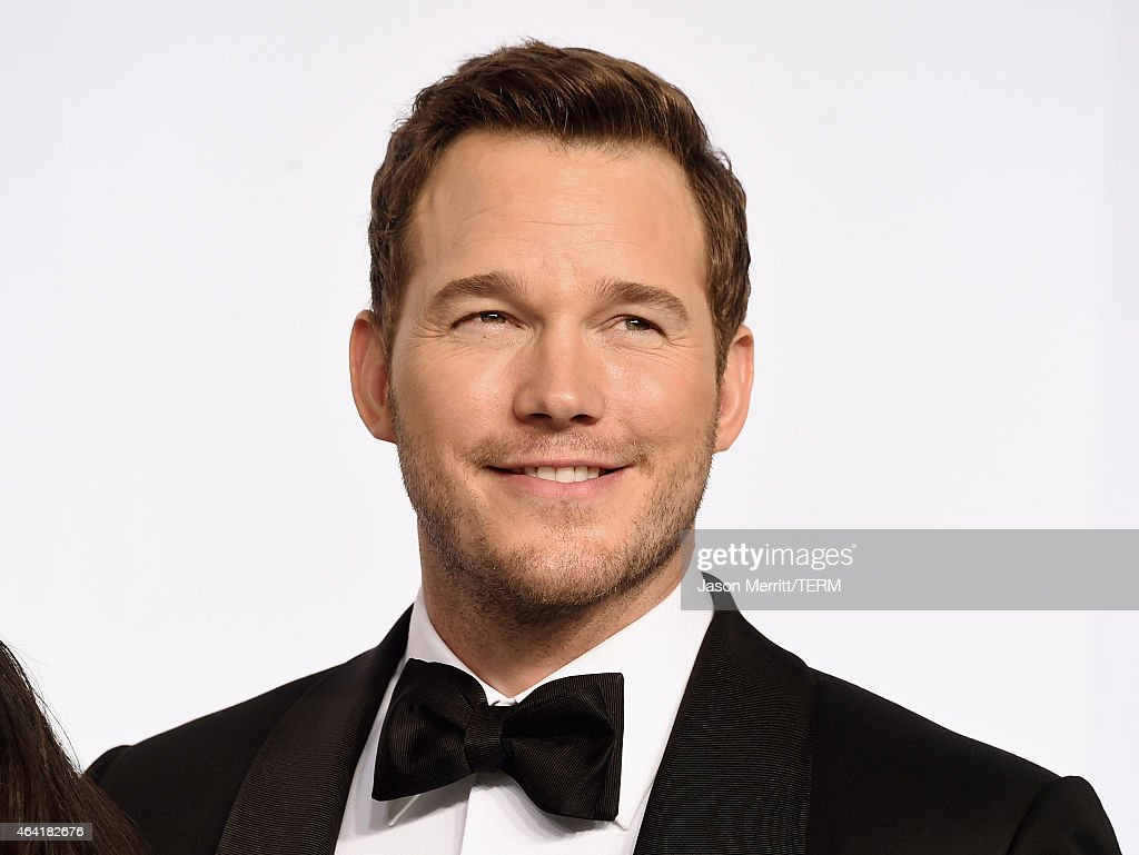 Actor Chris Pratt poses in the press room during the 87th Annual Academy Awards at Loews Hollywood Hotel on February 22 2015 in Hollywood California