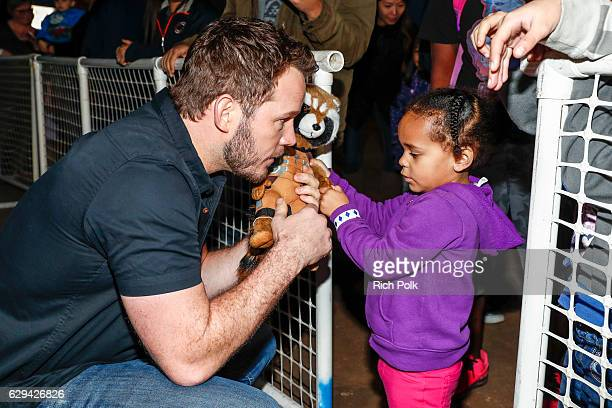 Actor Chris Pratt signes autographs for fans at Marine Corps Air Station Miramar on December 12 2016 in San Diego California