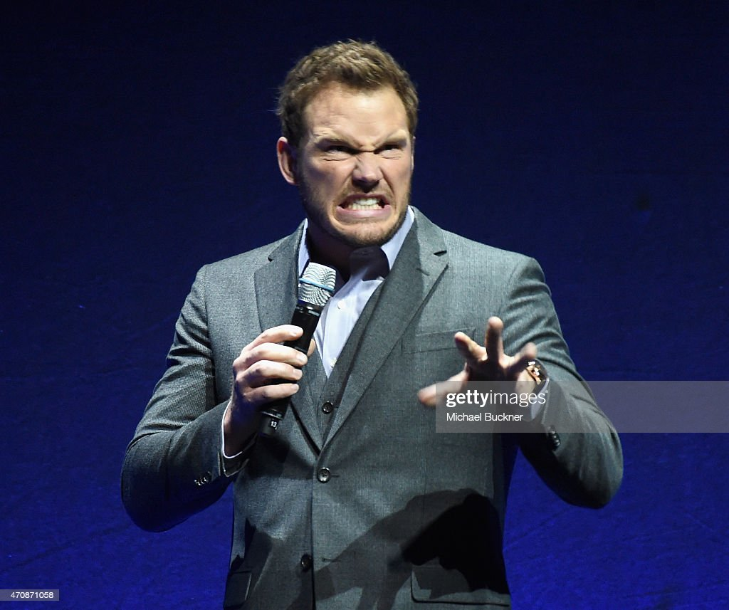 Actor Chris Pratt speaks onstage during Universal Pictures Invites You to an Exclusive Product Presentation Highlighting its Summer of 2015 and...