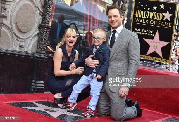 Actor Chris Pratt wife Anna Faris and son Jack Pratt attend the ceremony honoring Chris Pratt with a star on the Hollywood Walk of Fame on April 21...