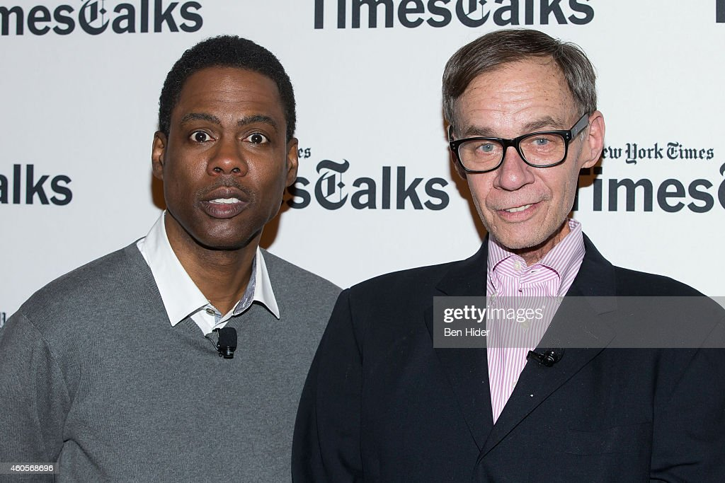 Actor Chris Rock and journalist David Carr attend a TimesTalks at TheTimesCenter on December 16 2014 in New York City