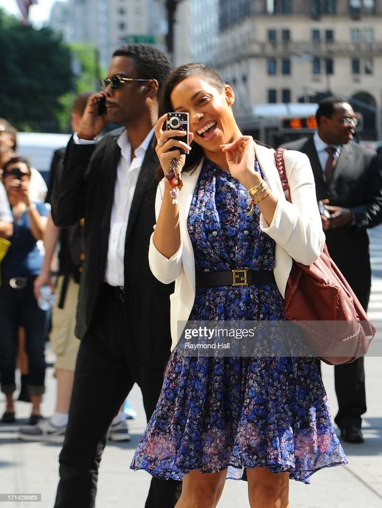 Actor Chris Rock and Rosario Dawson are seen on the set of 'The Untitled Chris Rock Project' on June 24, 2013 in New York City.