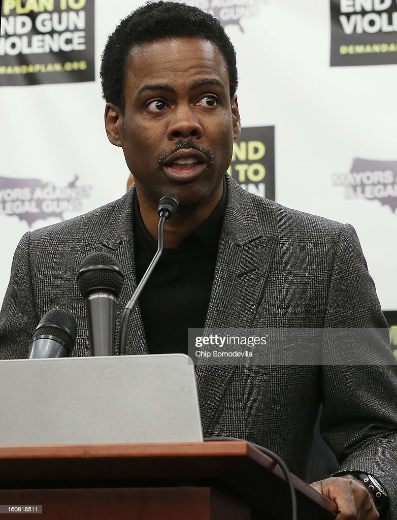 Actor <a gi-track='captionPersonalityLinkClicked' href=/galleries/search?phrase=Chris+Rock&family=editorial&specificpeople=202982 ng-click='$event.stopPropagation()'>Chris Rock</a> speaks during in a press conference hosted by the Mayors Against Illegal Guns and the Law Center to Prevent Gun Violence at the U.S. Capitol February 6, 2013 in Washington, DC. The artists, activists and politicians called for manditory background check on all gun purchases among other restrictions.