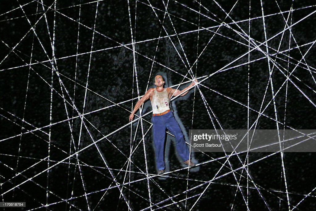 Actor Chris Ryan who plays Jack Driscoll climbs a giant spider web on Skull Island trying to find Ann Darrow as he performs during a 'King Kong' production media call at the Regent Theatre on June 14, 2013 in Melbourne, Australia. Based on the novel of the original 1933 screenplay and five years in the making, the new music theatre event King Kong will have its world premiere on June 15th.