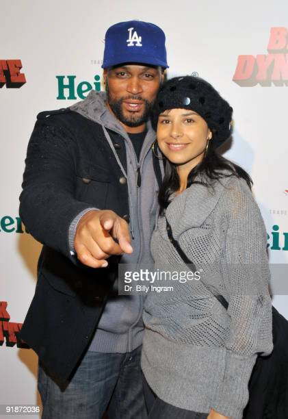 Actor Chris Spencer and his wife Vanessa Spencer attend the Black Dynamite Los Angeles Premiere at ArcLight Hollywood on October 13 2009 in Hollywood...