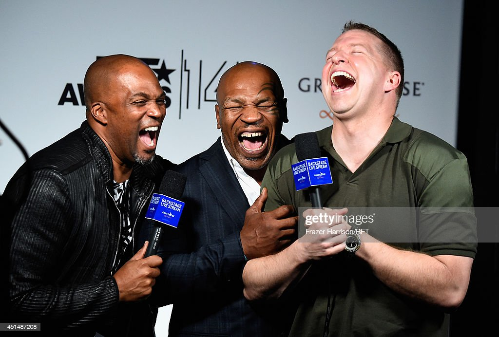 Actor Chris Spencer, former boxer <a gi-track='captionPersonalityLinkClicked' href=/galleries/search?phrase=Mike+Tyson&family=editorial&specificpeople=194986 ng-click='$event.stopPropagation()'>Mike Tyson</a> and actor <a gi-track='captionPersonalityLinkClicked' href=/galleries/search?phrase=Gary+Owen+-+Comedian&family=editorial&specificpeople=15155260 ng-click='$event.stopPropagation()'>Gary Owen</a> attend the BET AWARDS '14 at Nokia Theatre L.A. LIVE on June 29, 2014 in Los Angeles, California.