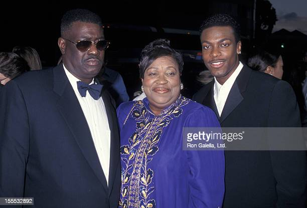 Actor Chris Tucker and parents attend the premiere of Money Talks on August 19 1997 at the Cinerama Dome Theater in Hollywood California