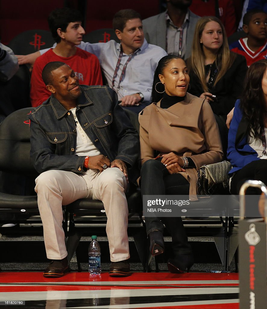 Actor Chris Tucker sits courtside during the Sears Shooting Stars on State Farm All-Star Saturday Night during NBA All Star Weekend on February 16, 2013 at the Toyota Center in Houston, Texas.